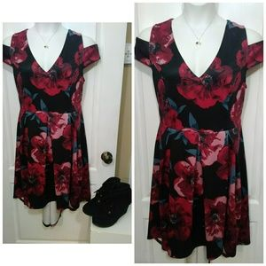 Charlotte Russe Plus Size Red Rose High-Low Dress